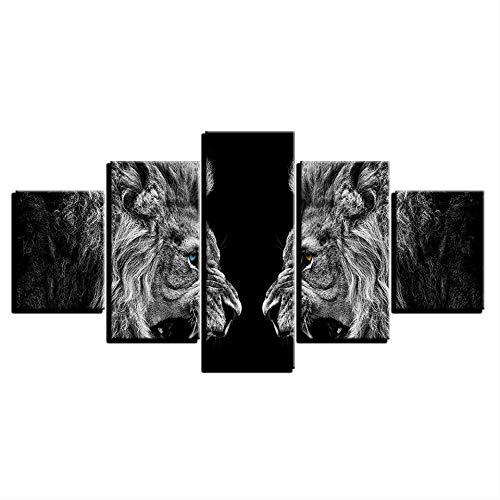 Décor à la Maison HD Impressions Toile Affiches 5 Pièces Lions Rugissants Miroir Peintures Mur Art Animaux Photos pour Salon Taille 1 Pas de Cadre