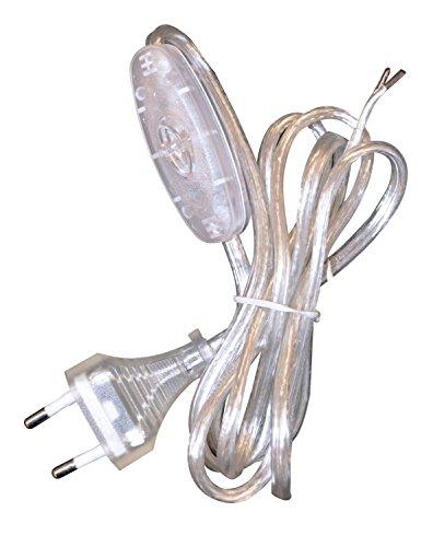 Tibelec 163900 Câble d'alimentation avec Prise électrique/Interrupteur Transparent
