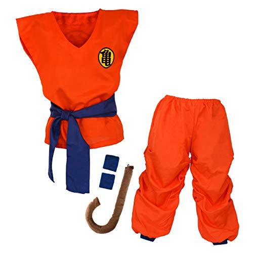 Niños Disfraz para Son Goku Bola del dragón Ropa de Entrenamiento para niños y jóvenes (XL)