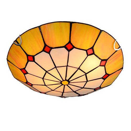 Jay Tiffany Accesorios de Luces de Techo Modernas Lámparas de Techo Amarillas mediterráneas Pantalla Redonda Simple Sala de Estar Dormitorio Hotel Montaje Empotrado Decoración Iluminación,30cm