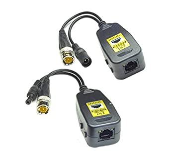 4K Passive Video Balun HD-CVI/TVI/AHD Video Transmission with Power Connector and 4K RJ45 CAT5 Data Transmitter 1 Pair