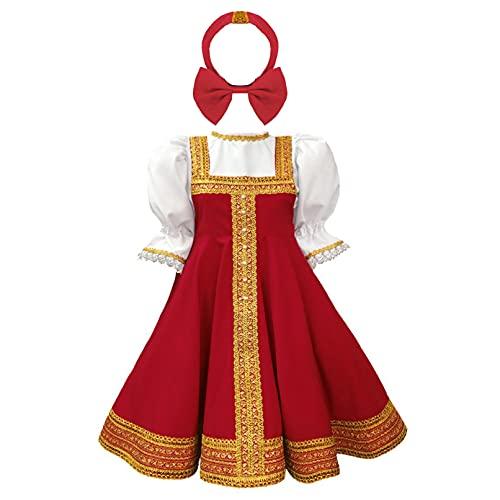TiaoBug Enfant Fille Déguisement Russe Traditionnel Cosplay Costume Halloween Noël Carnaval Robe Princesse Soirée à Manches Bouffantes et Bandeau 2-8 Ans Rouge 2-3 Ans