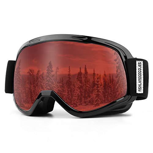 AKASO Skibril kinderen skibril snowboardbril voor jongens meisjes 8-16 jaar oud met frame/frame anti-condens-/mist, 100% UV-bescherming, helmcompatibele skibril