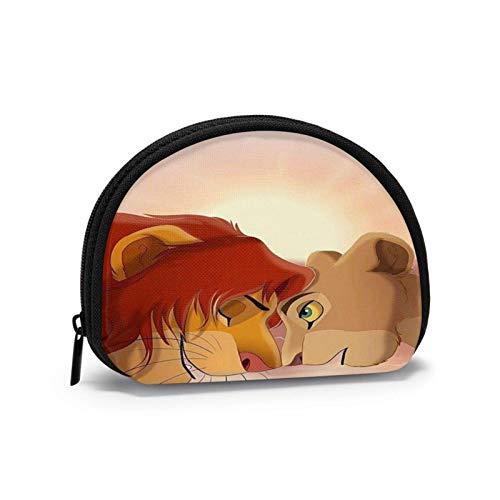 Monedero pequeño en efectivo, bolsa con cremallera, bolsos de mano, cartera en forma de concha, bolsas de almacenamiento de bolsillo de plata, sol de cabeza de rey león