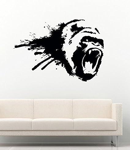 Details about  /3D Gorilla Music B066 Animal Wall Stickers Vinyl Wallpaper Murals Wendy