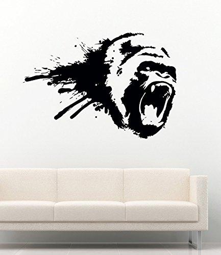 Amazon Com Gorilla Wall Decal Animals Wall Vinyl Decals Gorilla Monkey King Kong Decoration Gorilla Head Vinyl Decor Sticker Mural Size W 69 H 48 Kitchen Dining