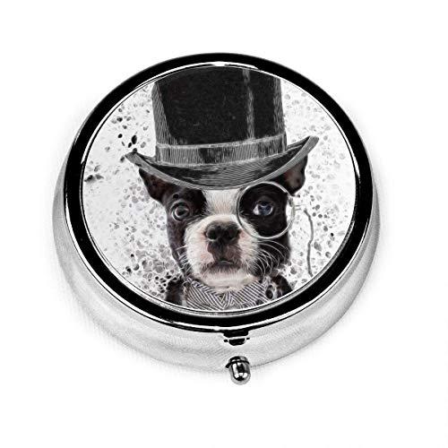 Scatola per pillole tonda Cani toro con cappello Scatola decorativa personalizzata Porta organizer in vitamina per tasca