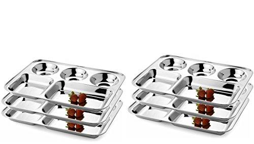 WhopperIndia Teller aus Edelstahl mit fünf Fächern, Thali, Tablett, Geschirrteller-Set mit 6 Stück - je 33 cm