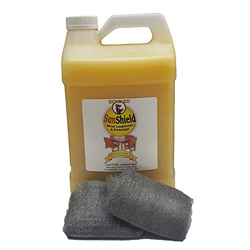 Howard Sun Shield Outside Wax for Wood Gallon, Wood Wax with UV Protection, Protect Outdoor Furniture from Sun and Moisture Damage