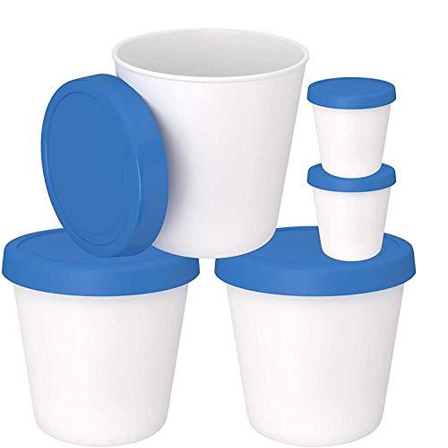 Lot de 3 boîtes de rangement pour crème glacée avec couvercles en silicone et 2 tasses de service - Passe au lave-vaisselle - Grande baignoire réutilisable sans BPA pour crème glacée maison