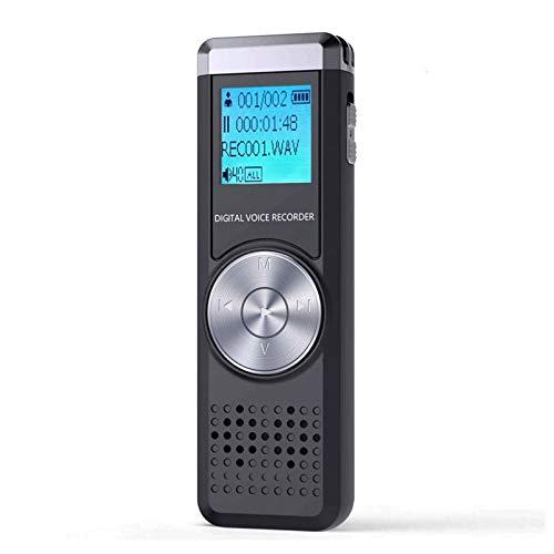 QCHEA Grabadora de Voz Digital, grabadora de Sonidos Activado, Recargable portátil de Alta definición grabadora de Audio, Reproductor MP3 / A-B de repetición, grabadoras de Voz for conferencias/reun