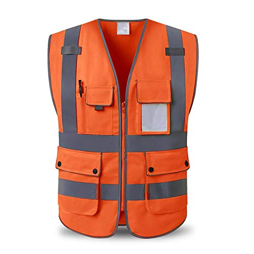 Urben Life Gilet de securite Orange, Gilet Unisexe De Sécurité De Visibilité Élevée avec Les Bandes Réfléchissantes, Gilet Multi De Sécurité De Construction De Poches en ISO 20471 - Unisexe