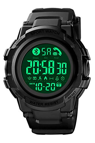 Herren Smartwatch Fitness Armband Sportuhr Digital Blutooth Schrittzähler Kalorienzähler Fernkamera Benachrichtigung Wecker EL-Licht Stoppuhr Armbanduhr Wasserdicht