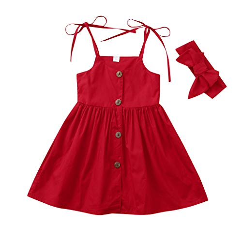 Julhold Sommer Kleinkind Baby Mädchen Freizeit Kinder Ärmellos Solide Print Baumwollkleid + Stirnbänder Outfits 0-4 Jahre