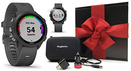 Garmin Forerunner 245 (Slate Gray) Gift Box Bundle | +PlayBetter HD Screen Protectors (x4), USB Car/Wall Adapters & Hard Case | Prepacked with Bow & Crinkle Paper | Running GPS Watch, VO2 Max, Coach