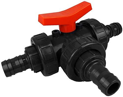 well2wellness® PVC 3-Wege Kugelhahn mit Schlauchtüllen 38mm   T-Bohrung