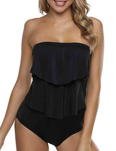 Firpearl Women's Bandeau One Piece Swimsuit Ruffle Swimwear Bathing Suit Black US10