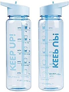 WELTRXE 25 oz Sports Water Bottle with Time Tracker/Marker, Large Capacity Leak Proof and Tritan BPA Free, Non-Toxic Drinking Bottle for Measuring H2O Intake - with 2 Straws [並行輸入品]