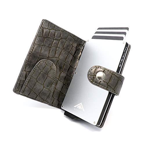 STEALTH WALLET Porta Carte RFID - Portafogli Titolare della Carta Credito Minimalisti (Argento con Pelle di Coccodrillo Grigia e Fermasoldi)