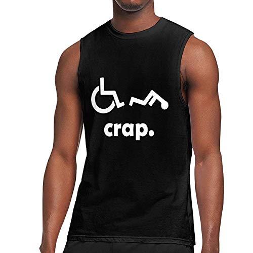 TYUHN Crap Handicap Funny Silla de Ruedas Gimnasio para Hombres Camiseta Deportiva sin Mangas con Cuello Redondo Chaleco para Correr