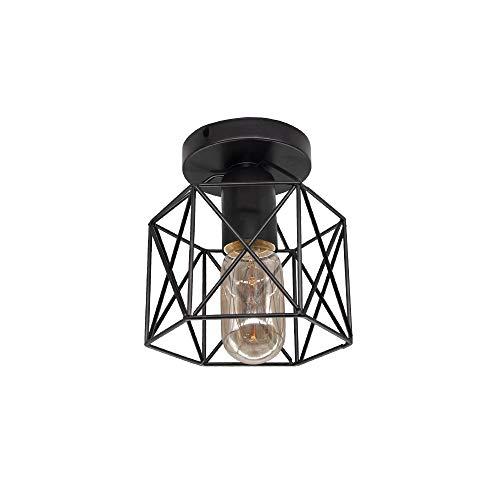 Lámpara de techo LED vintage Luz de montaje en superficie de jaula de hierro negro, para cocina, dormitorio, balcón, barra, bombilla Edison, luz cálida, lámpara de techo