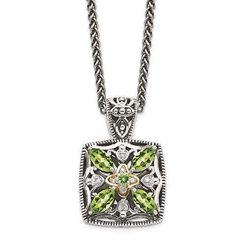 Sterling Silver and 14k Yellow Gold Diamond and Peridot Necklace, 18'