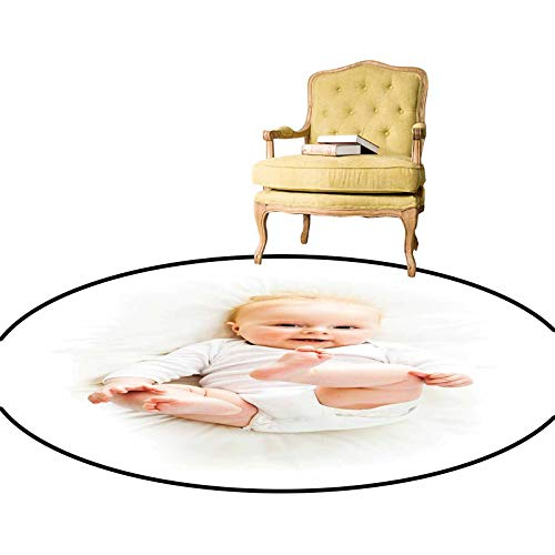 Area Rugs Beautiful Baby with Her Feet Up Cauc Infant Lying Down Adorable Photo Joyful Smile Throw Rug Made from Premium Recycled Fibers Tan Blue Diameter - 3 Feet