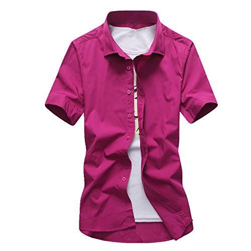 N\P Verano Hombres Manga Corta Slim Color Sólido Camisa Casual Rosa. M