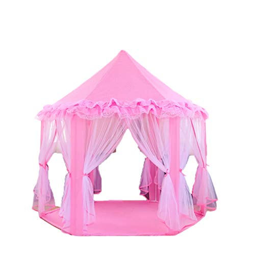 Tents Pink Lace, Princess Hexagon Play Girl's Pink Childhood Indoor Playhouse for Kids Indian Teepee (Color : Pink, Size : 140 * 135CM)