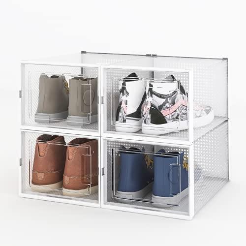 Arkmiido Caja de zapatos, 4 cajas de almacenamiento de zapatos de plástico transparente, contenedores organizador de zapatos con tapas para mujeres/hombres (36 x 28 x 21 cm)