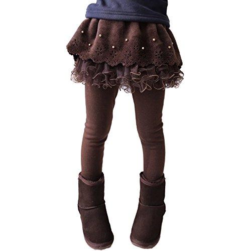 Junkai junkai Baby Mädchen Strumpfhose - Herbst Winter Warm Dick Leggings mit Minirock Baumwolle Hose für Neugeborenen Kinder Mädchen