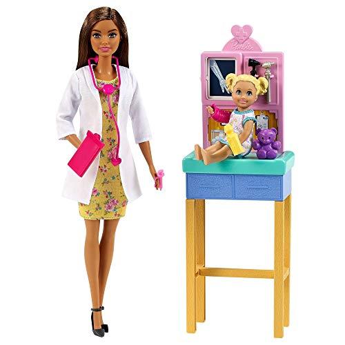Barbie Pediatra Muñeca morena doctora con bebé, consulta médica de juguete y accesorios (Mattel GTN52)