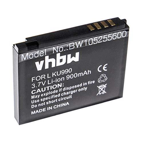 vhbw Li-Ion Akku 900mAh (3.7V) für Handy, Smartphone, Telefon LG KU990, KU990i Viewty, KC910, KC910i Renoir, HB620T DVB-T, KE838, KE990, KE998, KB770.