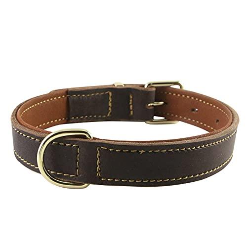 ZZCR Collar De Perro Mascota Collar De Cuero Collar De Varios Tamaños Collar Artesanal Hecho A Mano Collar Suave Anti-Golpes L