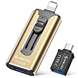 USB3.0 Flash Drives 128GB, IMKAR Memory Drive 128GB Photo Stick Compatible with Mobile Phone & Computers, Mobile Phone External Expandable Memory Storage Drive, Take More Photos & Videos (Gold)