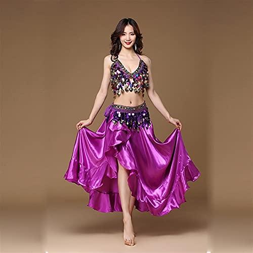 Vientre Dancing Dance Disfraz Oriental Danza Disfraces Mujeres Belly Dance Disfraz Set 3pcs Set Bra Belt Falda (Color : Purple, Size : One Size)