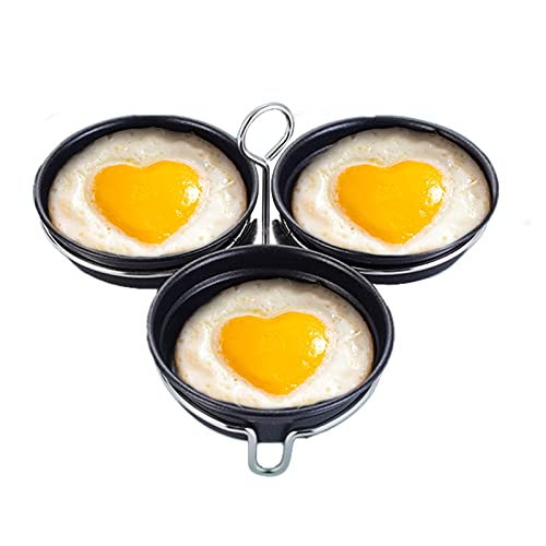 WSYW 3 anillos de huevo de silicona antiadherentes para freír el amor en forma de corazón molde de huevo frito para panqueques herramienta de cocina 28 x 17 x 9 cm negro