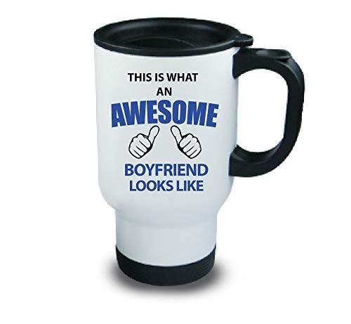 This is what AN Awesome Boyfriend Looks Like Mug de voyage en métal Cadeau d'anniversaire de Noël Saint-Valentin