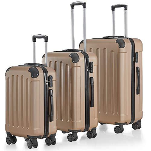 Juskys Hartschalen-Koffer Set Yara 3-teilig – 3 Trolley mit Schloss, Griff und 360° Rollen – Champagner - Reisekoffer Hartschale leicht