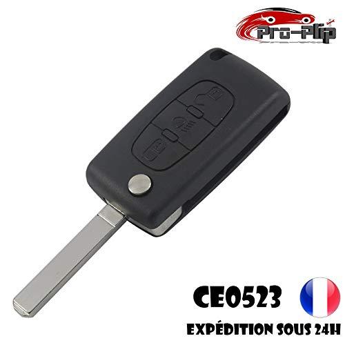 Pro-Plip sleutelbehuizing voor Citroën 3 toetsen, koplampen, C4 C1 C2 C3 C5 C8 Picasso CE0523, lemmet zonder groeven, beschermhoes afstandsbediening