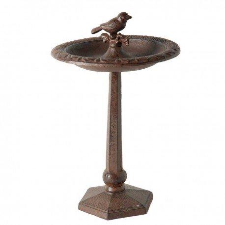 Antic Line - Abreuvoir bassin oiseaux sur pied hexagonal - brun - 31cm