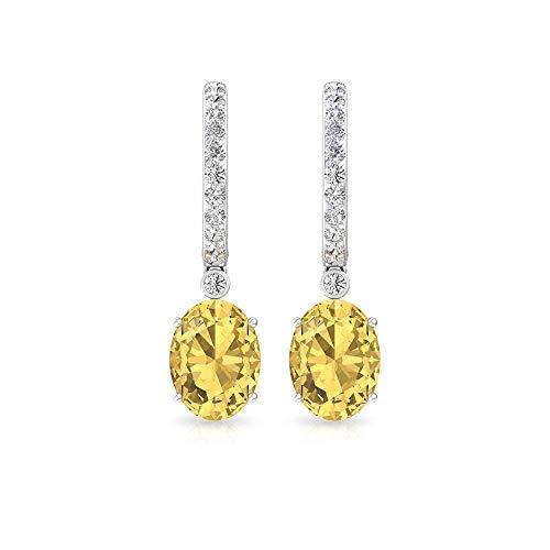 Pendientes de aro con diamantes citrinos certificados IGI, con piedras preciosas minimalistas, IJ-SI, claridad de color, pendientes colgantes, regalo de San Valentín, 14K Oro blanco, Par