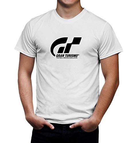 Gran Turismo Sport White tee Shirt Mens Round Neck Short Sleeves Bottoming T-Shirt