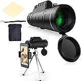 SSyang HD Cell Phone Lens,40x60 Telescopio Monocular con Eyemask,10 X Lente de Teleobjetivo con Metal Trípode Universal Clip para iPhone Samsung, Huawei y la mayorí