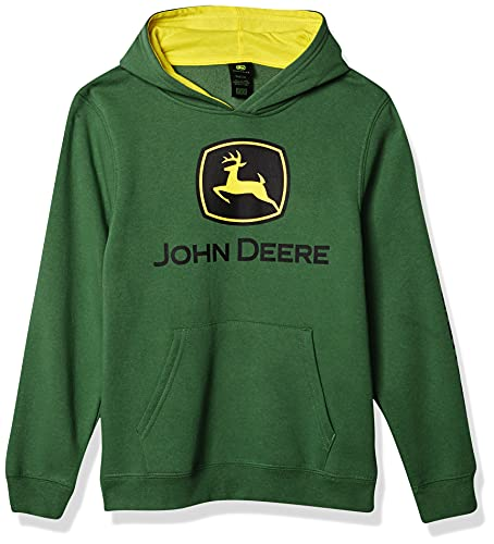 John Deere Boys Fleece Hoody Pull Over Hooded bluza, Green Trademark, 10 12 US
