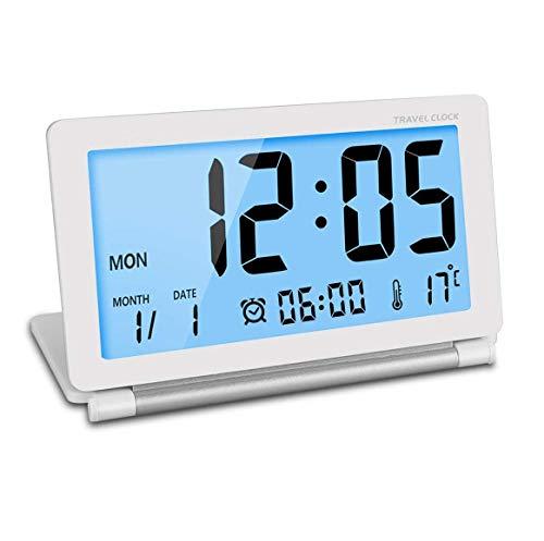 Manfore Reisewecker, Batteriebetrieben Digitaler Reisewecker/Digitalwecker/Tischuhr mit Nachtlicht, Schlummerfunktion, LCD Temperatur/Datums Anzeige für Zuhause Büro Reise benutzen (Weiß)