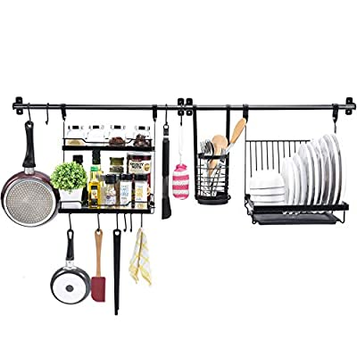 TOOLF Utensil Rack Set of 5, Kitchen Wall Hanging Shelf with 2 Rail Rack, Folding Dish Rack, 2-Tier Spice Rack, Utensil Holder, 10 S-Hooks for Wall Mounted Storage Organizer, Black by TOOLF