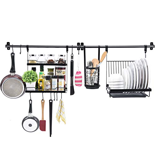 TOOLF Utensil Rack Set of 5, Kitchen Wall Hanging Shelf with 2 Rail Rack, Folding Dish Rack, 2-Tier Spice Rack, Utensil Holder, 10 S-Hooks for Wall Mounted Storage Organizer, Black