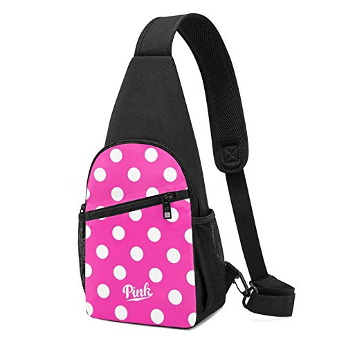 New Vs Pink Polka Dot Sling Backpack Crossbody Sling Bag for Men & Women, Fashion Chest Shoulder Daypack Casual Backpack for Outdoor Cycling Travel Hiking Gym