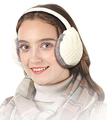 Knolee Unisex Knitting EarMuffs Faux Furry Earwarmer Winter Outdoor EarMuffs,White